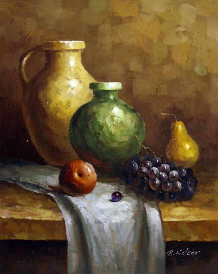 Still Life Oil Paintings Pots Fruit Still Life Oil