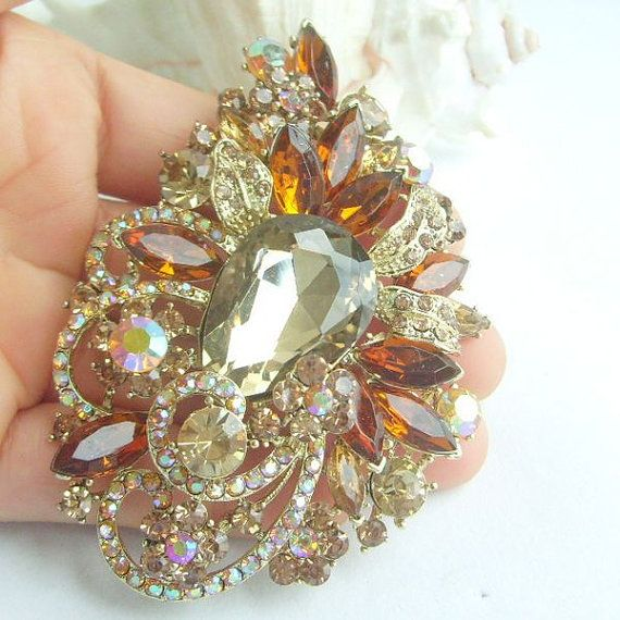 Bouquet Floral Brooch Pin Gorgeous Flower Brooch by VanessaJewel, $15.99