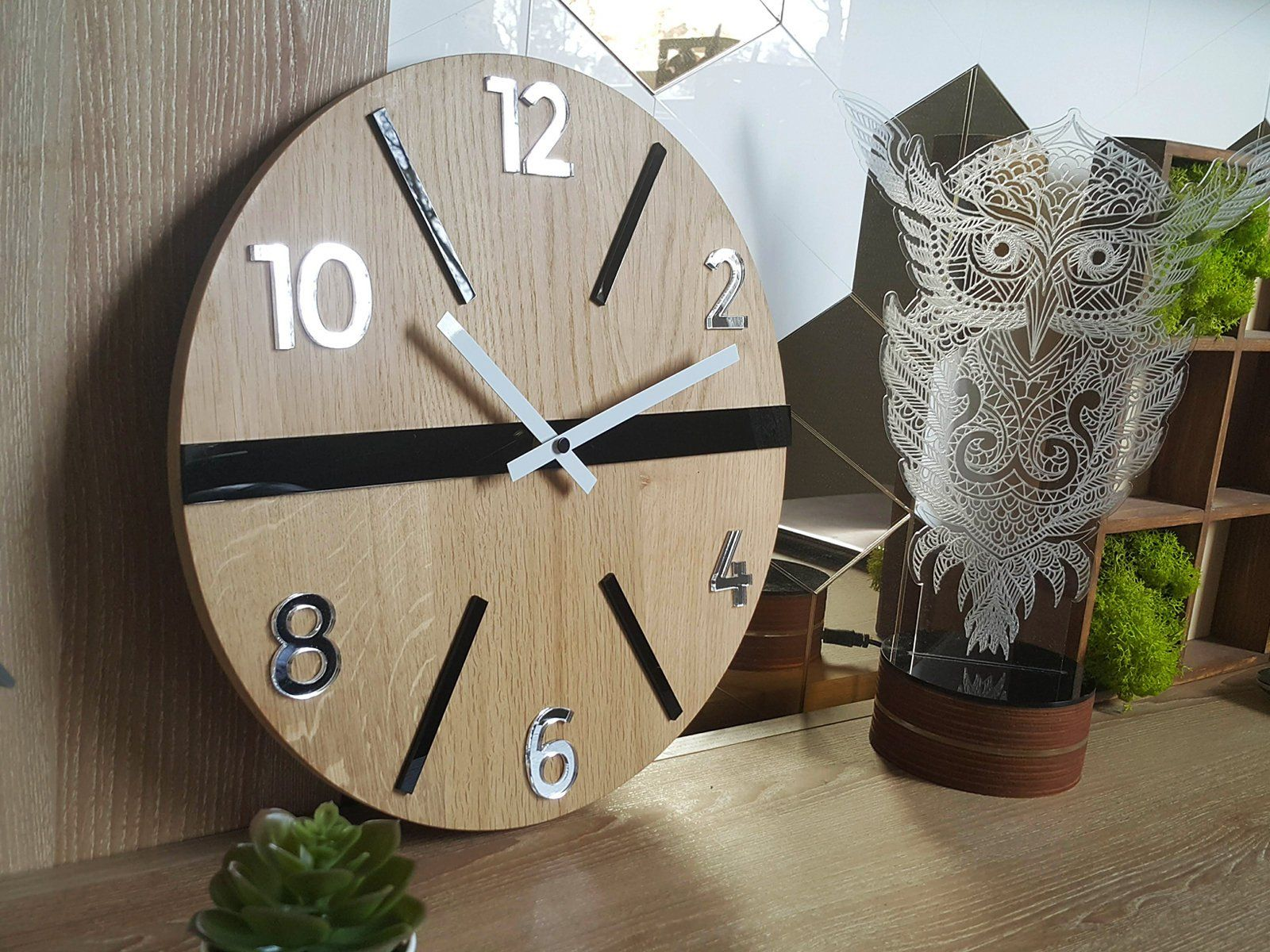 Wall Clock In Scandinavian Style White Black And Mirror Etsy Colorful Wall Clocks Scandinavian Style Wall Clock