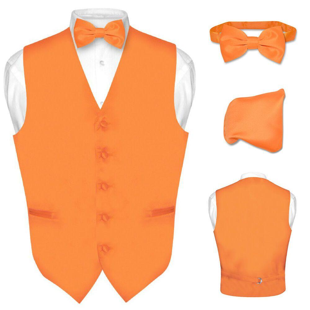 65dabd426280 (eBay Sponsored) Men's Dress Vest BOWTie Hanky Solid ORANGE Color Bow Tie  Set for