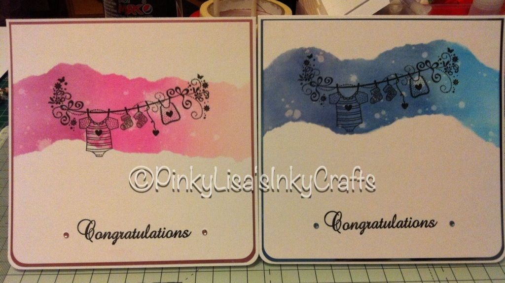 Clean and simple baby cards using distress inks, stamps and mirri board