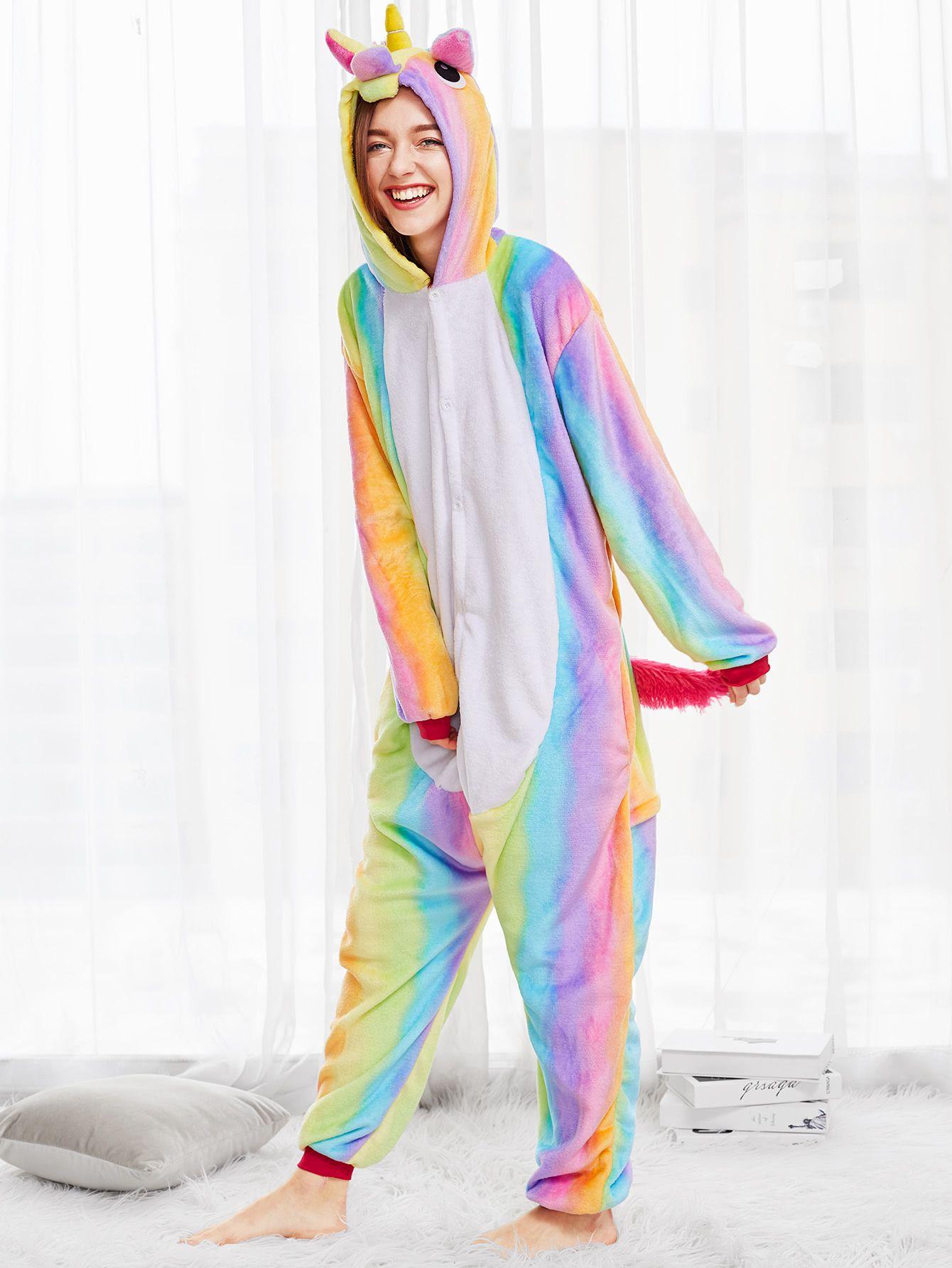 Shop Rainbow Unicorn Onesie Online Shein Offers Rainbow Unicorn Onesie More To Fit Your Fashionable Needs Rainbow Unicorn Lounge Wear Fashion