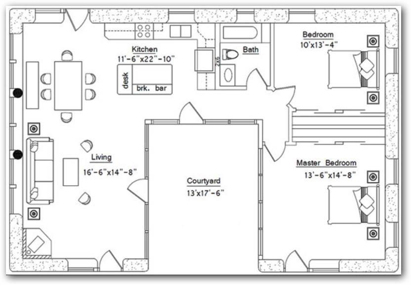 Casa con patio central planos casas pinterest patios - Planos de casas con patio interior ...