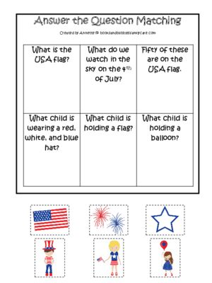 4th Of July Themed Answer The Question Activity Preschool Pre K