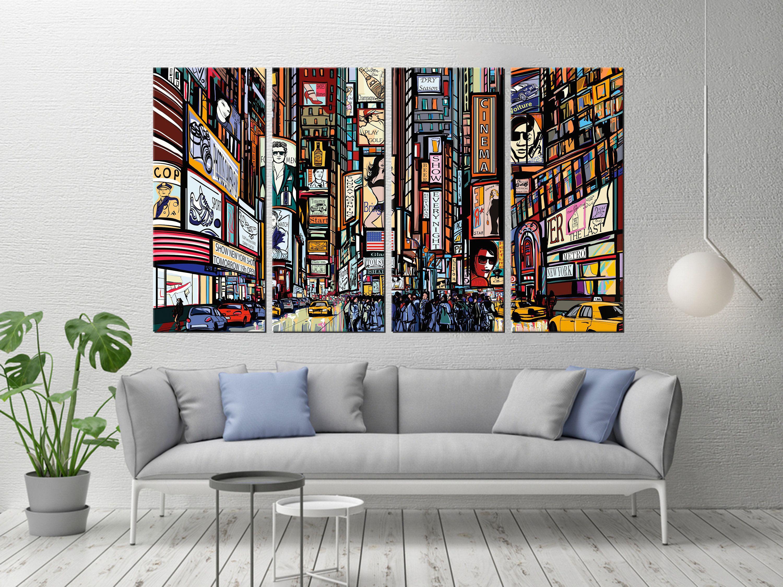 New York Illustration Urban Modern Art Modern Canvas Print Etsy Urban Wall Art Canvas Wall Decor Wall Canvas