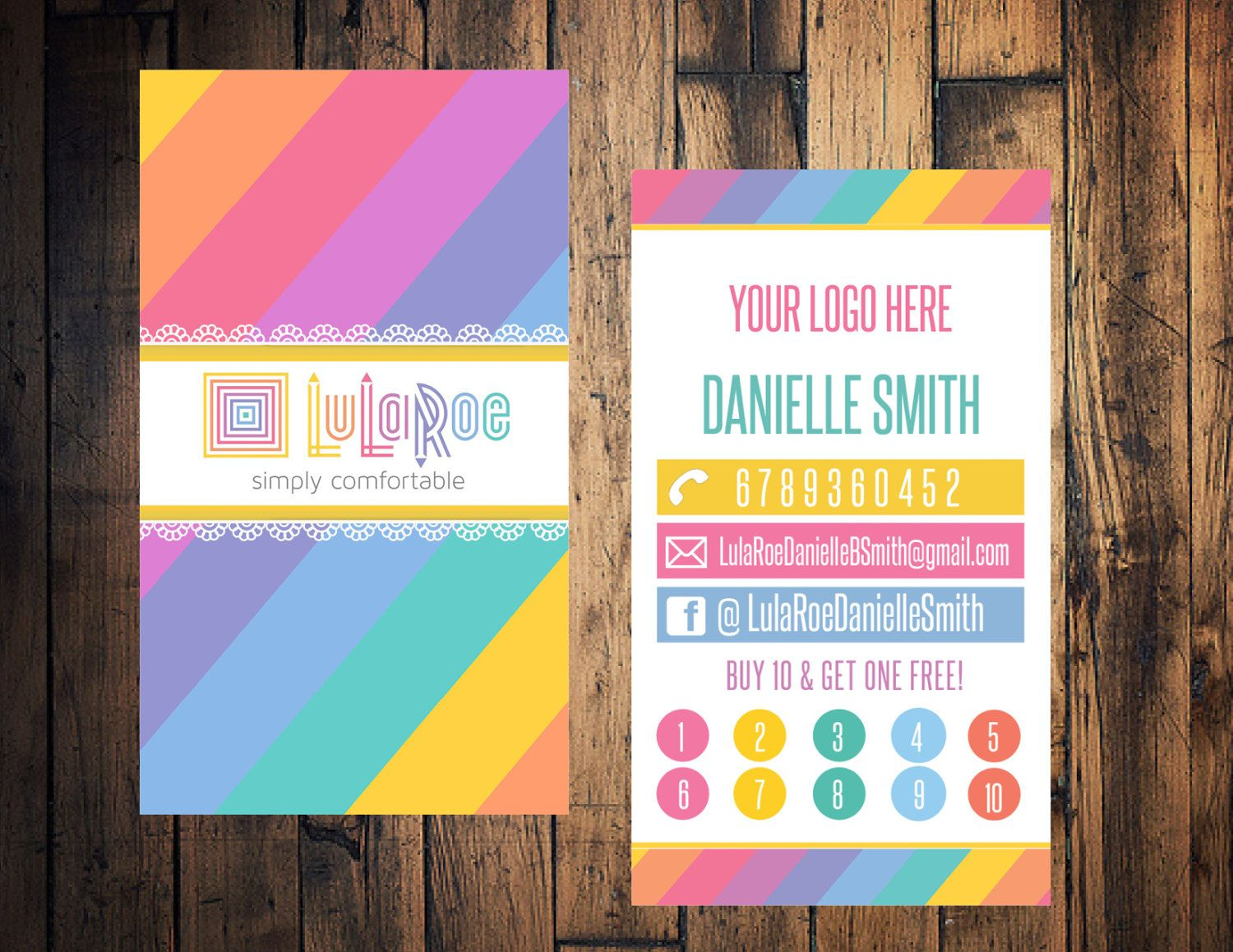 Striped business card, Striped punch card, BYGO free business punch ...