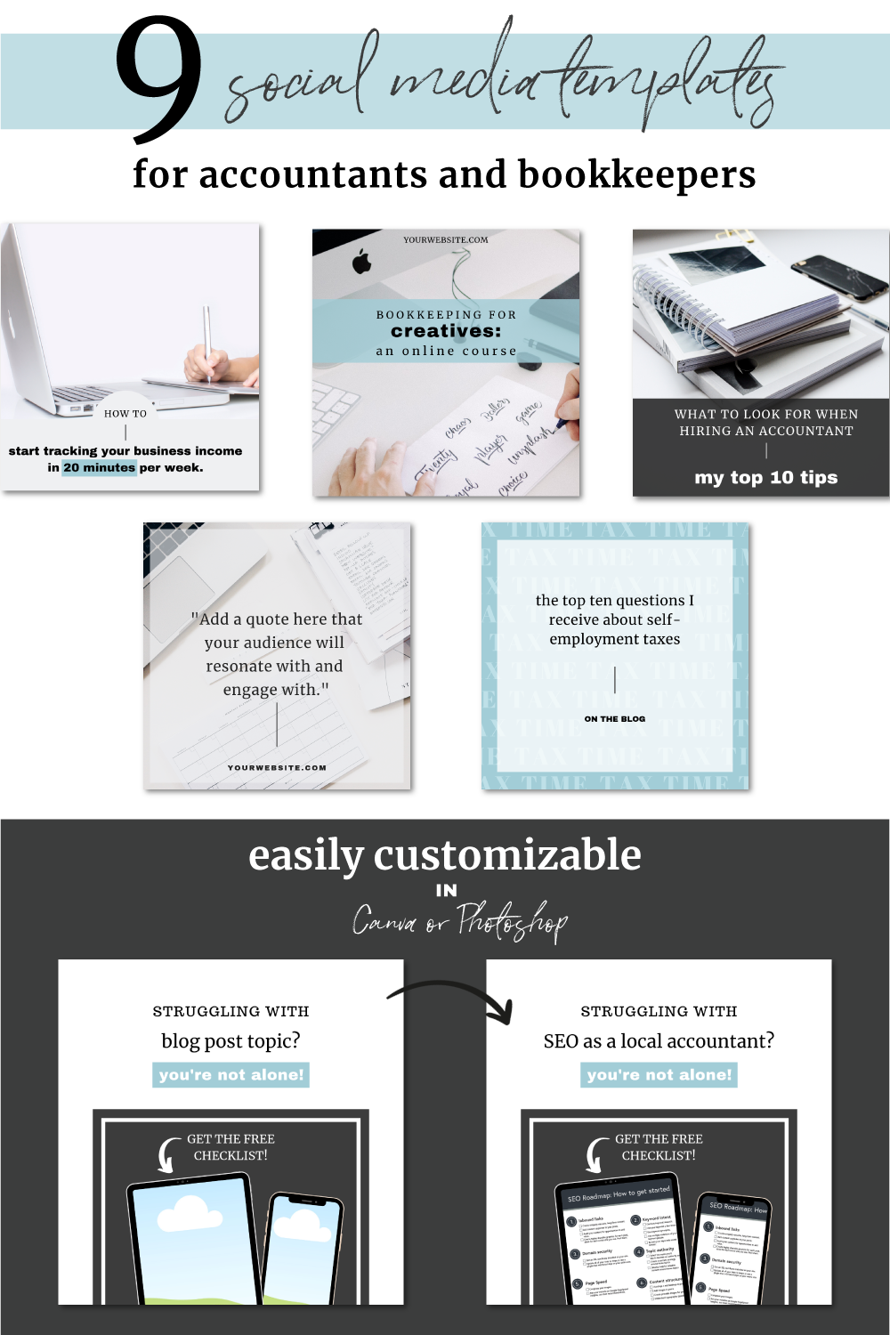 Accountant Bookkeeper Social Media Templates For Canva Etsy In 2021 Bookkeeping Social Media Social Media Template