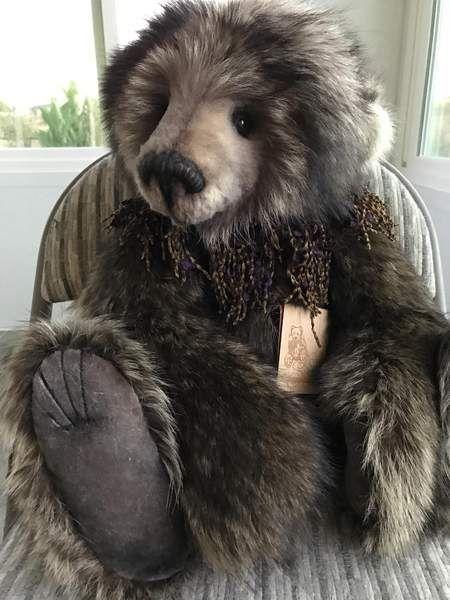 No Name By Lori Simon Stunning 23 Raccoon Fur Bear By Lori Simon Gorgeous Light Charcoal Greenish Glass Eyes Bear Stuffed Animal Handmade Teddy Bears Bear