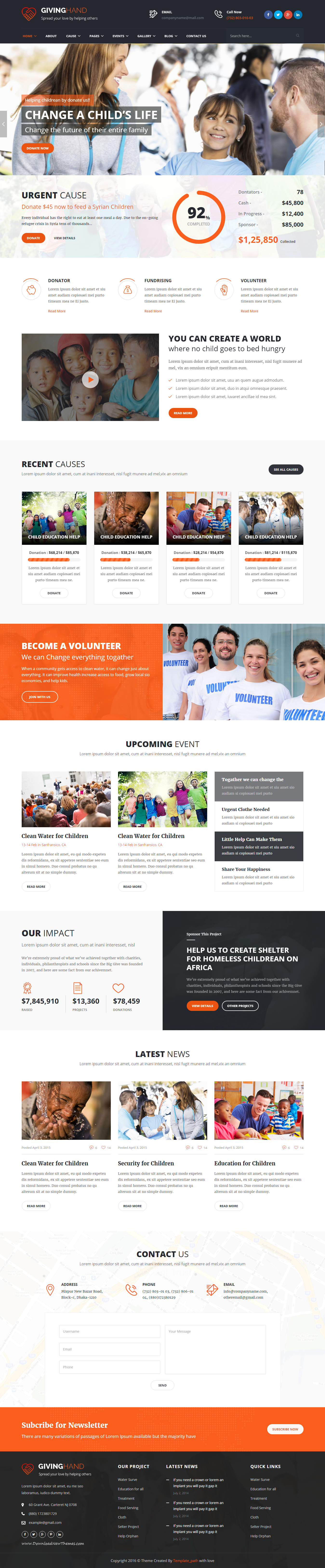 Giving Hand - Responsive HTML Template for Charity & Fund Raising ...