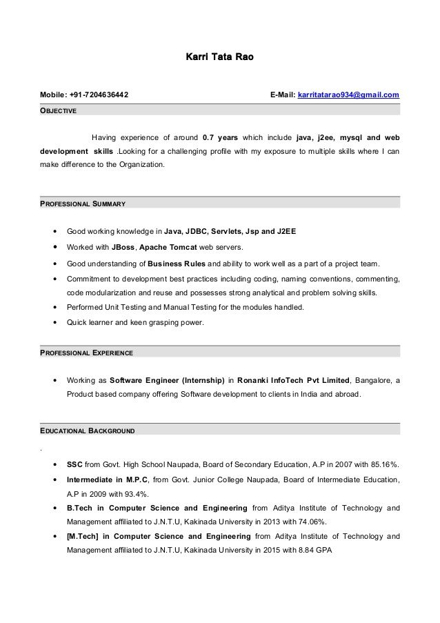 Resume Sample For Experienced Mesmerizing Resume Format For 6 Months Experienced Software Engineer  Pinterest .