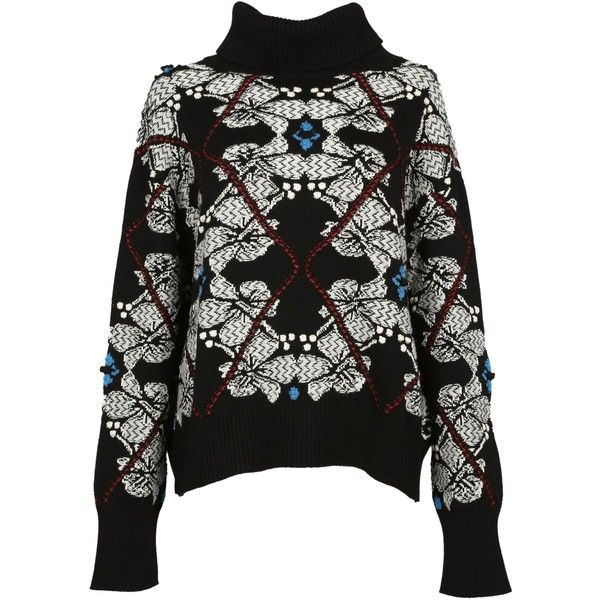 Barrie Floral Intarsia Sweatshirt ($745) ❤ liked on Polyvore featuring tops, hoodies, sweatshirts, long sleeve sweatshirt, turtle neck top, turtleneck tops, long sleeve tops and floral tops