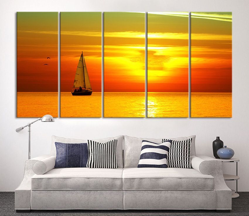 Sunset on Ocean and Boat, Wall Art Sun on Ocean Canvas Print, Extra ...