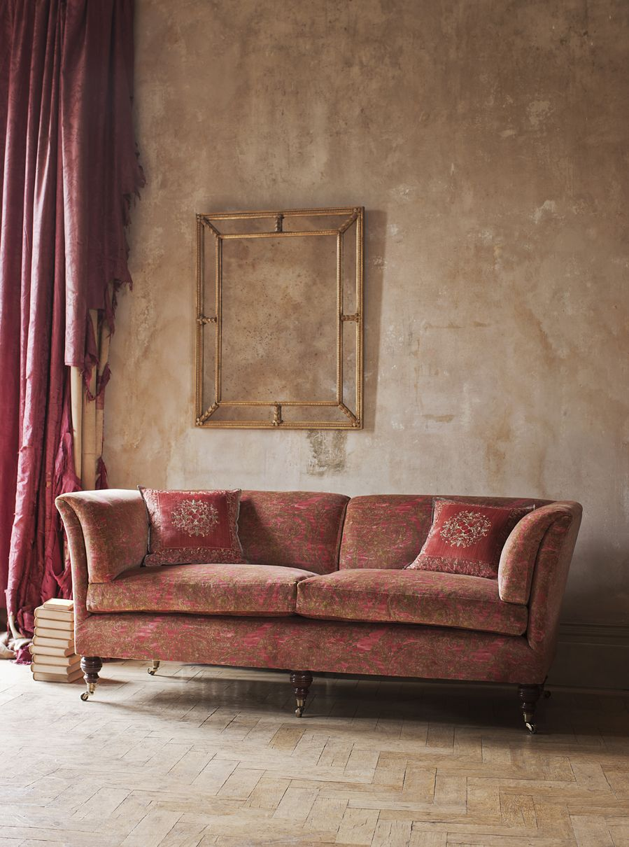 Elegant and comfortable - The Pompadour sofa high back covered in Balthazar - venetian red