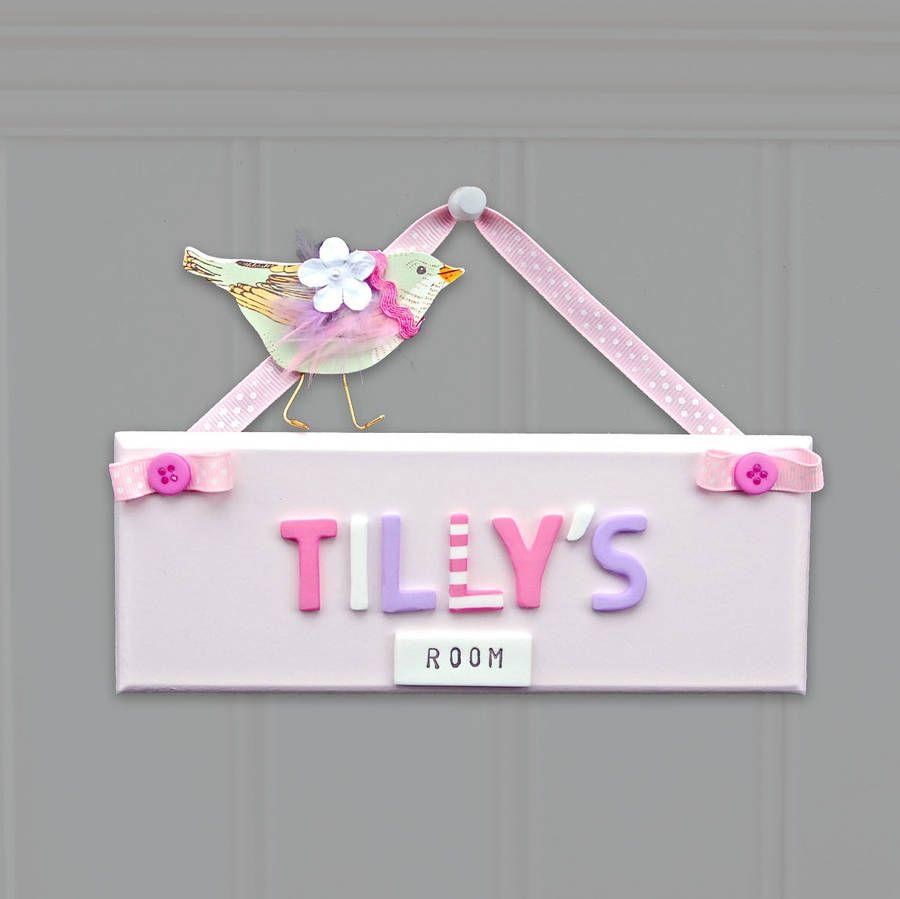 Pink personalised bedroom door sign with bird