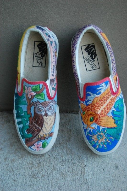 46e02a3c2bbf4f too cool ~ hand drawn vans ~ highcouture on etsy ~  100