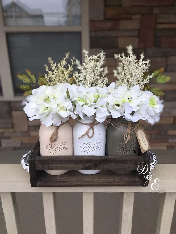 mason jar centerpiece, mason jar home decor, mason jar planter box, mason jar crate, rustic decor, wedding centerpiece, mason jar table top
