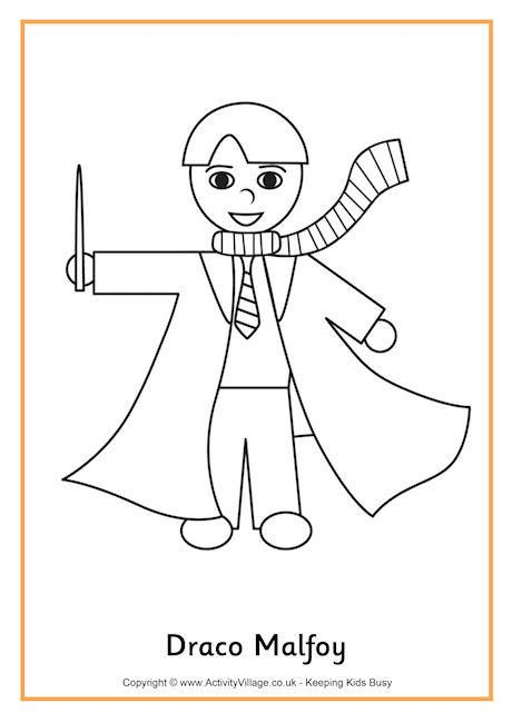 Draco Malfoy Colouring Page With Images Harry Potter Coloring