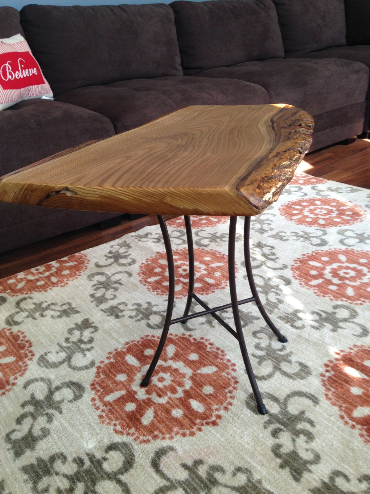 Catalpa end table with aluminum legs sale item