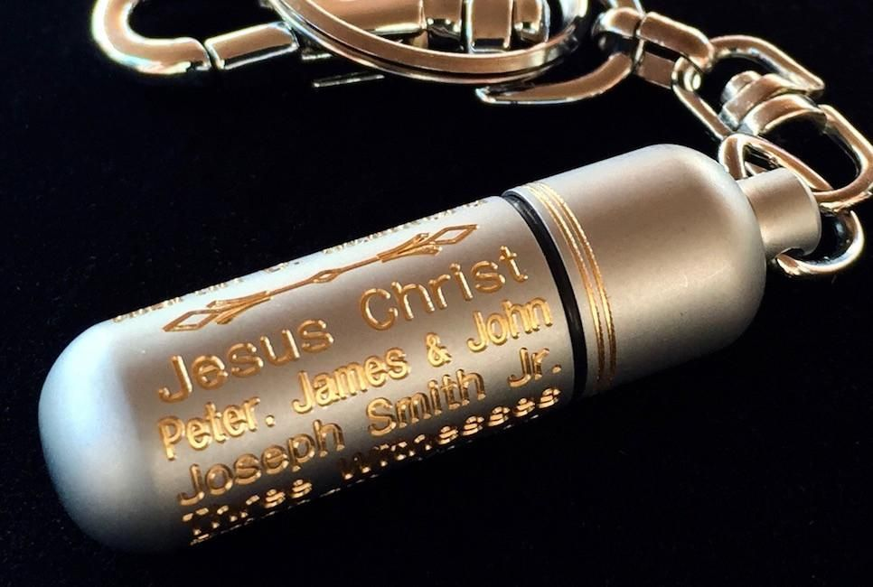 LDS Oil Vials Engraved with Priesthood Line of Authority