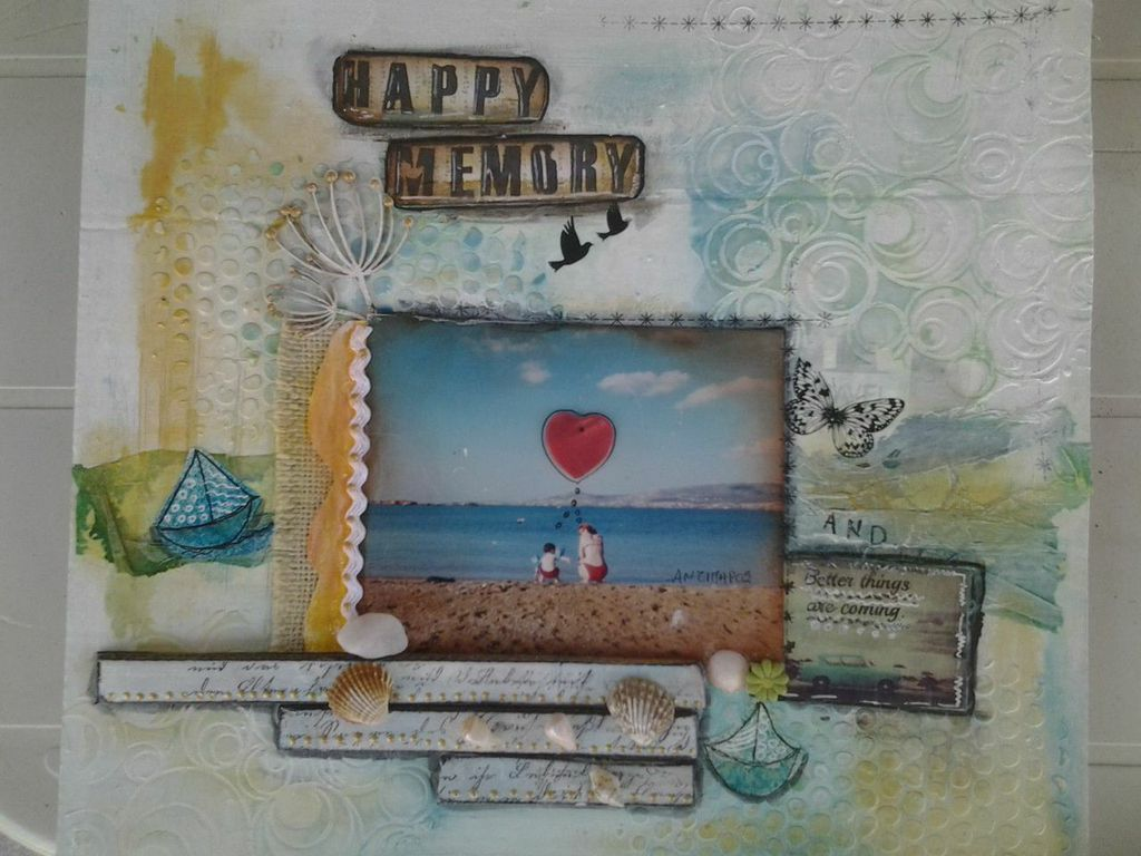 Happy memory my mix media layout for August challenge from Sraps N Pieces blogspot