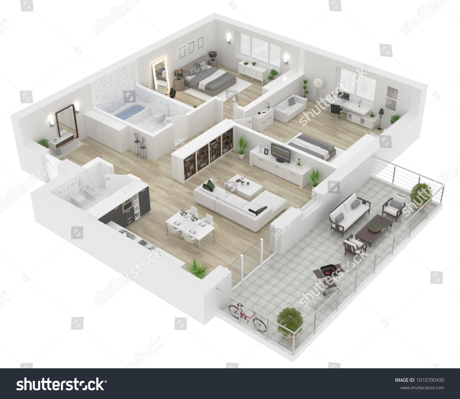 3D Rendering Of Furnished Home Apartment 3d Balcony Floor