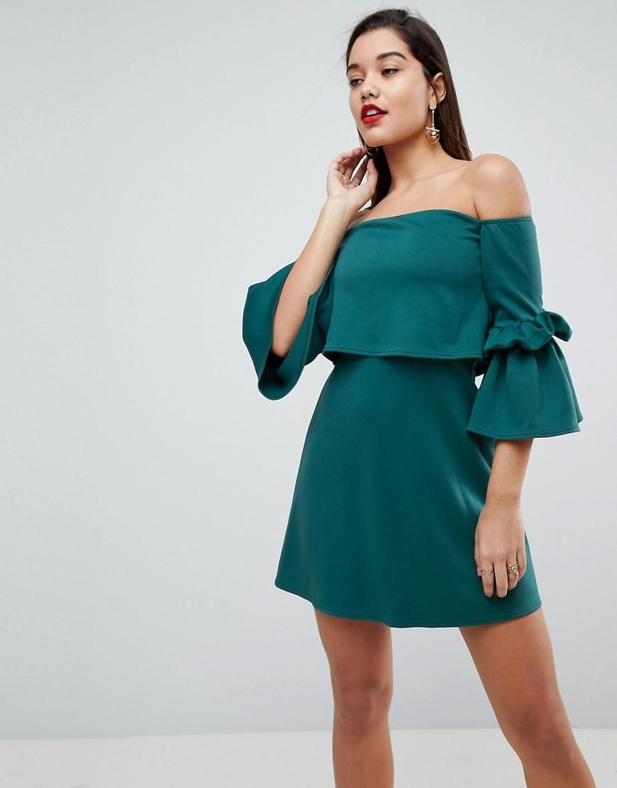 ASOS - #ASOS ASOS Scuba Crop Top Bardot Fluted Sleeve Mini Dress ...