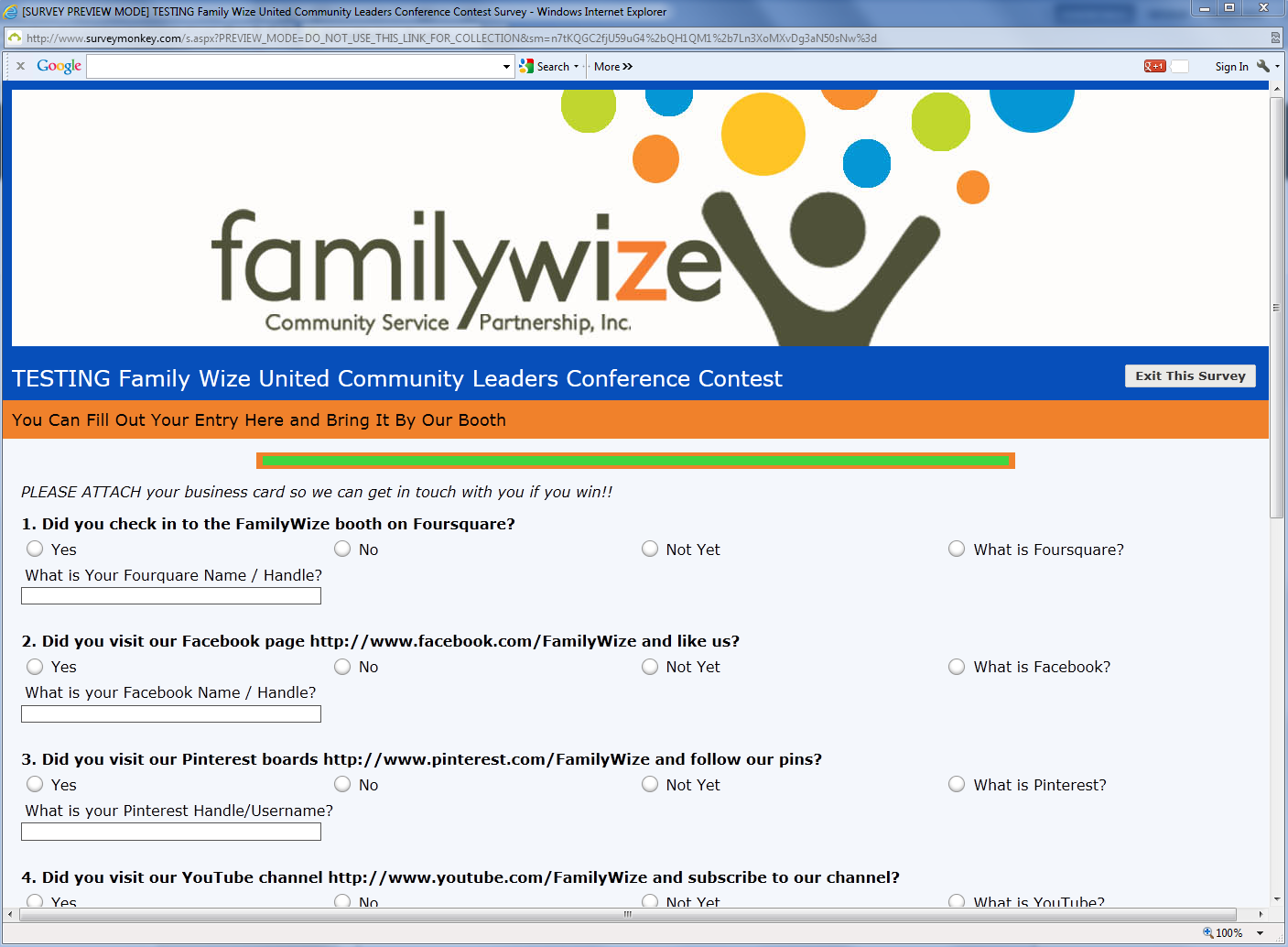 Familywize Custom Created Survey Monkey Profile Created By