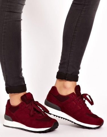 new balance 574 sonic burgundy trainers at asos marketplace