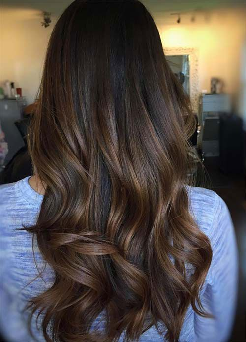 Top Balayage für dunkles Haar – schwarze und dunkelbraune Haar Balayage Farbe (Leitfaden 2019) – Haarfarben   – Haarfarbe Licht