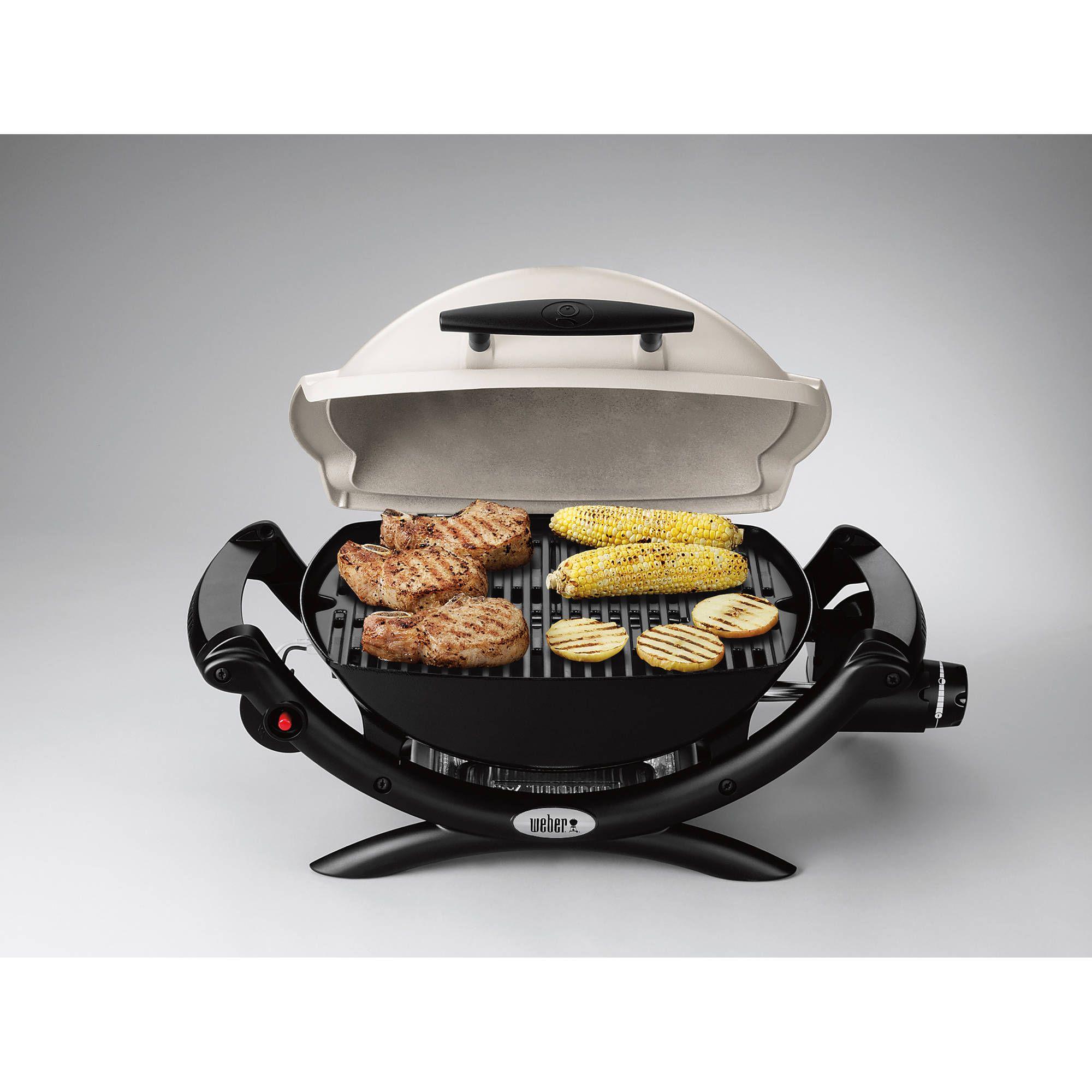 Weber Q 1000 1 Burner Portable Gas Grill Titanium Walmart Com Propane Grill Propane Gas Grill Best Small Gas Grill