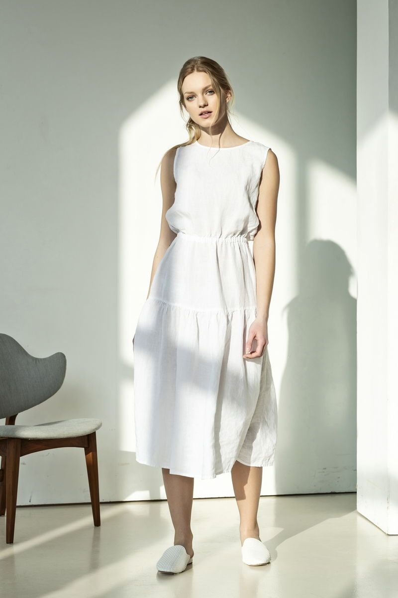 White Flare Linen Dress This Romantic White Dress Requires Minimal Styling And Can Easily Be Slipped On Making It Ideal For Vacation Hand Crafted From A Brea [ 1200 x 800 Pixel ]