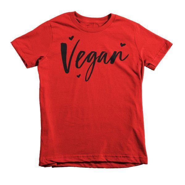 vegan kids tee in black hearts