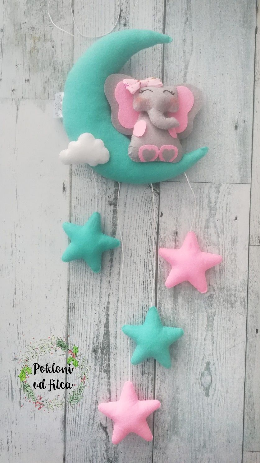Strawberry fairy Children/'s room decoration handcrafted felt hanging and mobile
