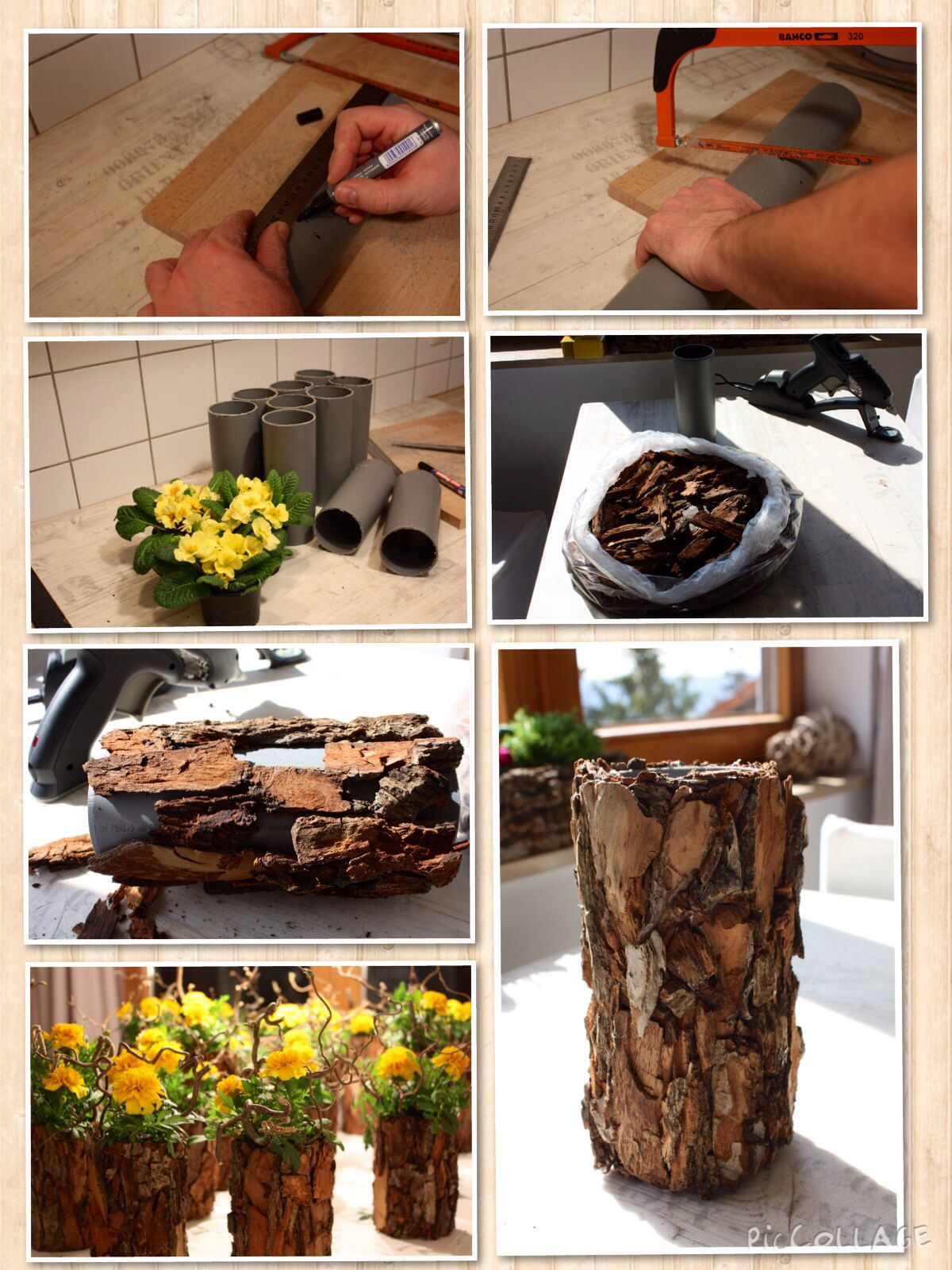 Dekoration Home Baumrinde Tree Bark Vase Arrangement Flowers