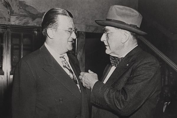 O'Malley (left) and Rickey (right) both had visions of how to expand baseball.  In O'Malley's case, however, purchasing a plot of land to the northwest of Downtown Los Angeles would lead to the loss of a generation of potential latino Dodger fans.