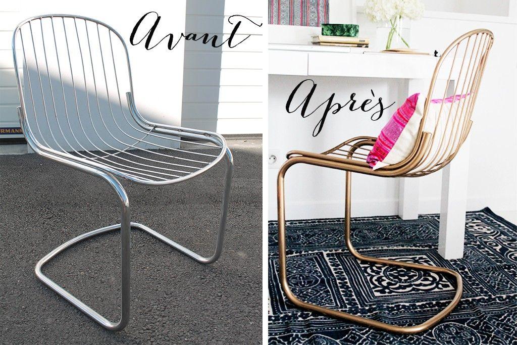 DIY comment peindre des chaises en métal en doré Big project - bombe de peinture aluminium