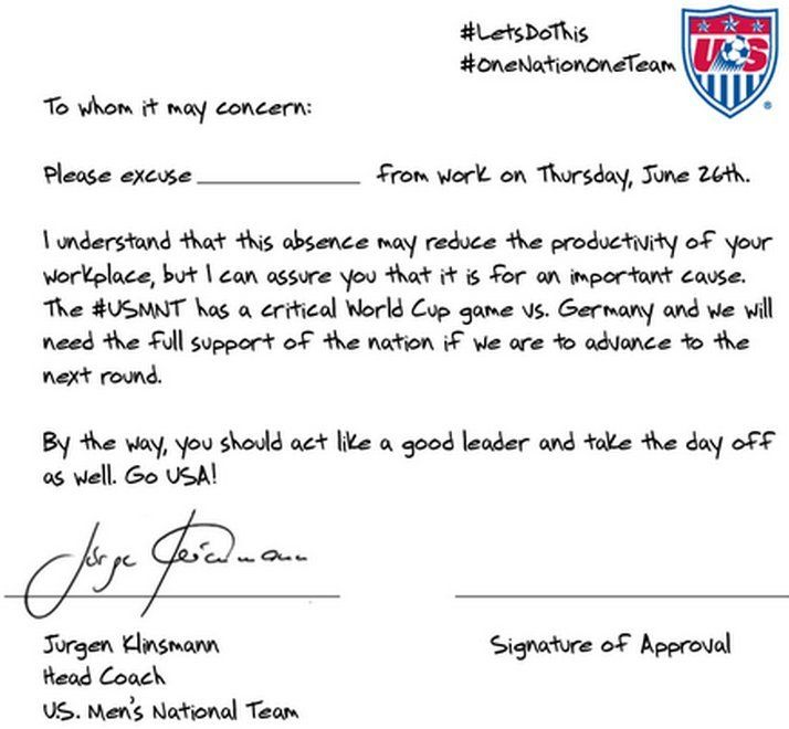 US Soccer Team Crafts Perfect Get-Out-Of-Work Note For Germany Game - absence note