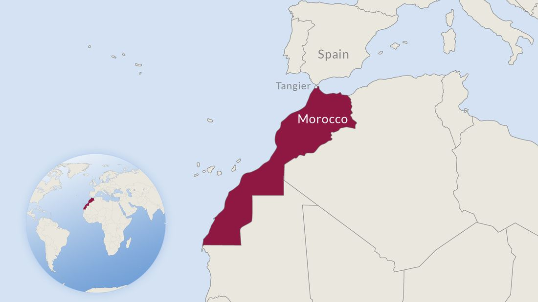 Map of western Africa with Morocco highlighted
