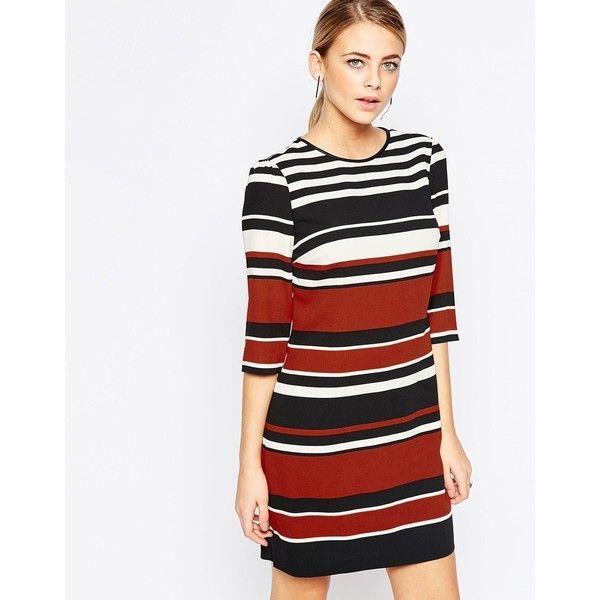 Oasis Stripe Shift Dress ($71) ❤ liked on Polyvore featuring dresses, multi, striped shift dress, white dress, tall shift dress, white zipper dress and striped dress