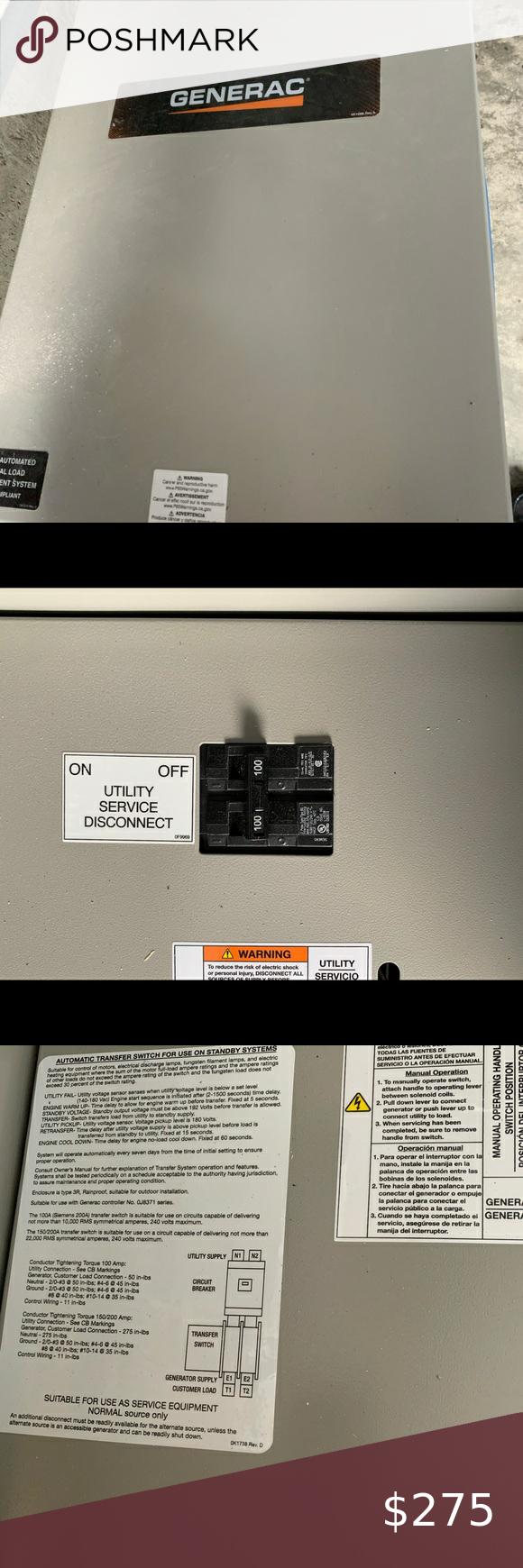 Generac 100a 1o 120 240v Transfer Switch Generac Rxsw100a3 100a 1o 120 240v Service Rated Nema 3r Automatic Trans In 2020 Transfer Switch Switch Transfer