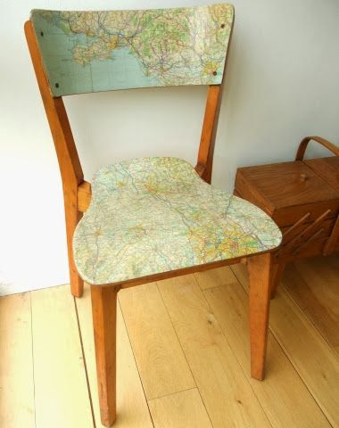 map decoupage chair