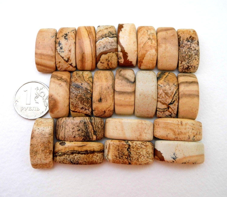 Купить Яшма песчаная 22 камня набор бусины с двумя отверстиями - песчаная яшма