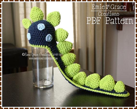 Crochet Dinosaur Hat Pattern, Spiked Beanie Cape, LONG TAIL DINO ...