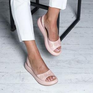 Faux Leather Hollow Out Daily Sandals Di 2020 Sepatu Wanita