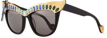 Anna=-Karin Karlsson Magpie Cat-Eye Sunglasses, Golden/Blue #Sunglasses #Eyewear #LadiesSunglasses #WomensSunglasses #DesignerSunglasses