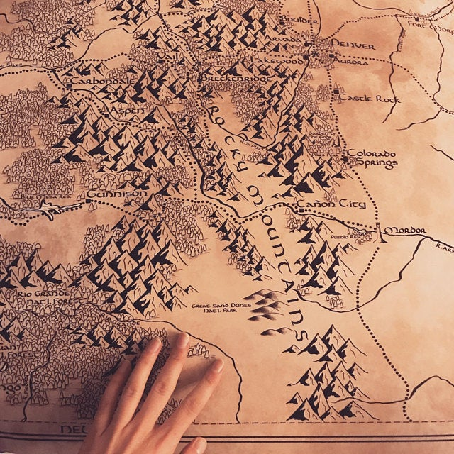 Colorado Map / Tolkien Inspired / Free US Shipping Etsy