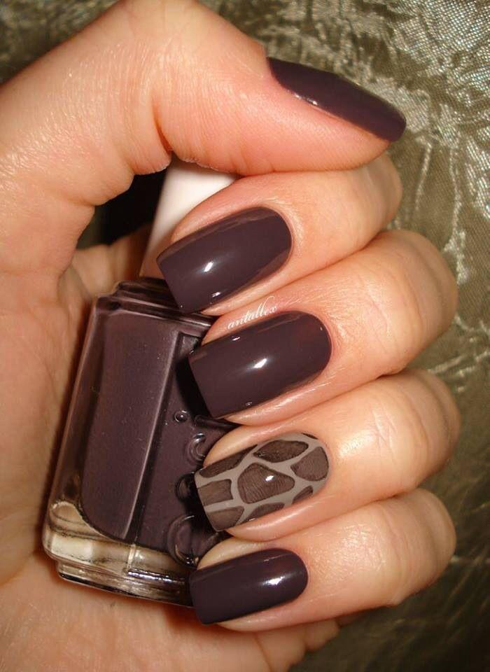 Glossy Brown Nail Art Design Idea Brown Nails Design Giraffe Nails Brown Nail Art