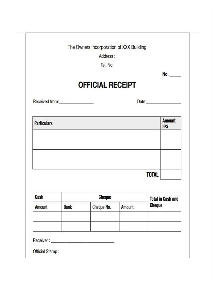 Receipts Examples Samples In Pdf Inside Receipt Form Pdf Free Receipt Template Contract Template Receipt Template