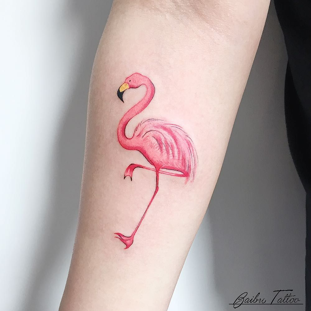 10 flamingo tattoos that will make you think pink ideas for Pink flamingo tattoo