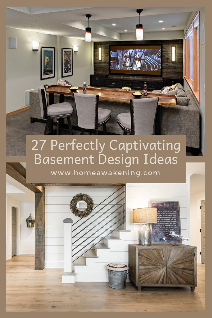 27 Perfectly Captivating Basement Design Ideas Home Awakening Basement Design Modern Basement Basement Furniture